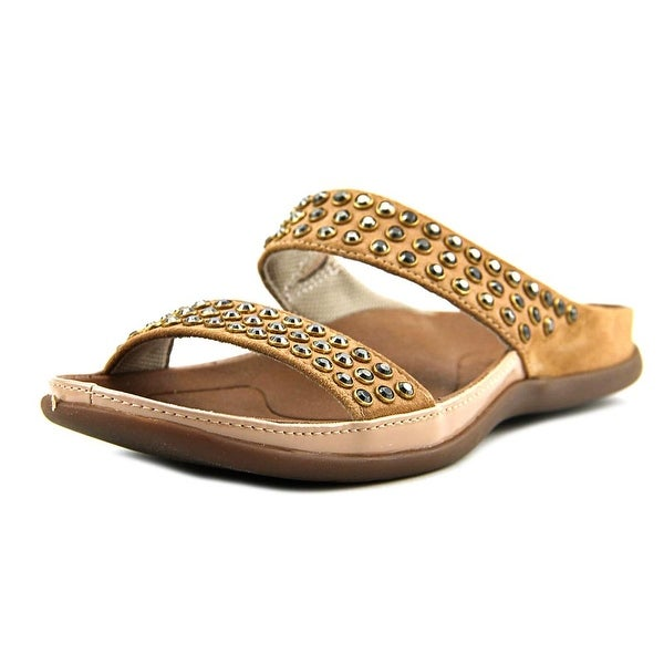 Strive Lombok Rock Women Open Toe Leather Tan Slides Sandal
