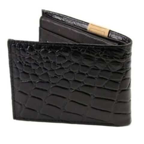 Mens Alligator Bifold Genuine Leather Print Crocodile Black Wallet