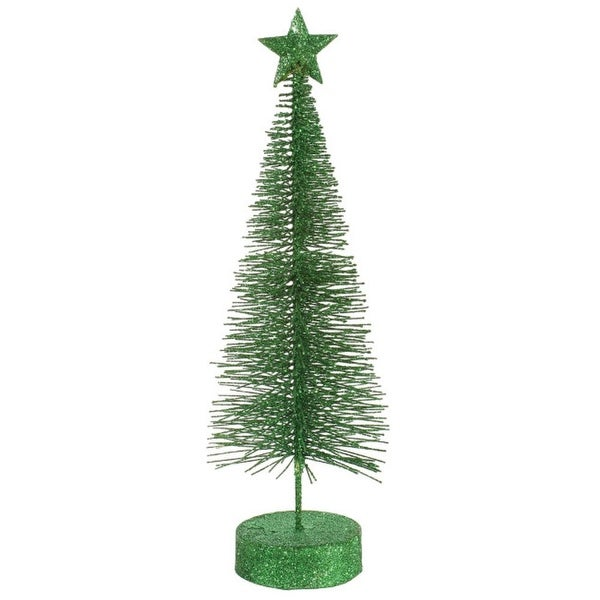 Pack of 2 Xmas Green Glitter Sisal Artificial Table Top Christmas Trees 8""