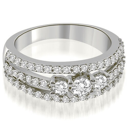 0.84 cttw. 14K White Gold Three-Stone Split Shank Diamond Wedding Ring