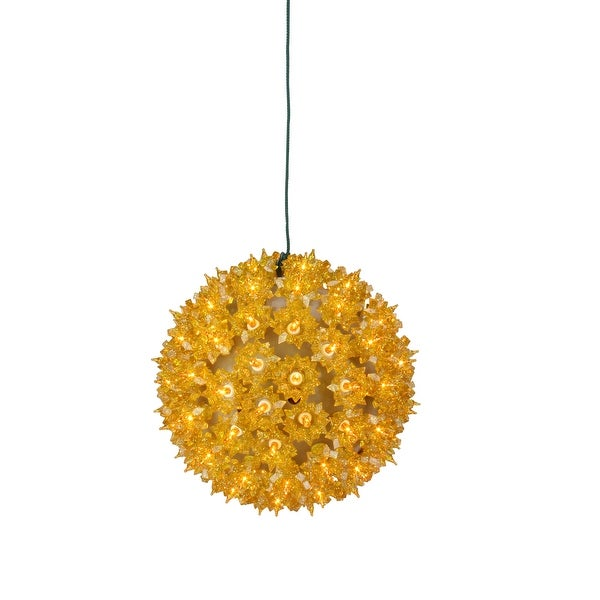 """7.5"""" Yellow Lighted Gold Hanging Starlight Sphere Ball Christmas Decoration"""