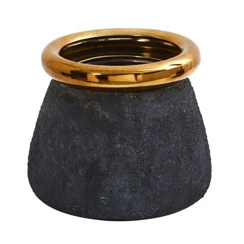 "10"" Stone Planter with Bronze Rim"