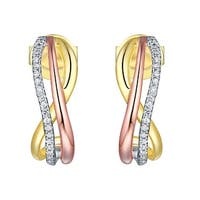 Prism Jewel 0.75MM 0.08CT G-H/I1 Natural Diamond Tri-Color Gold Push Back Earring - N/A - White G-H