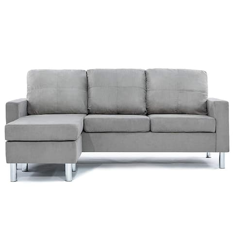 Modern Grey Microfiber Small Space Sectional Sofa with Reversible Chaise