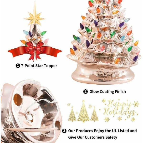 15 Lighted Vintage Ceramic Tree With Multicolored Lights Tabletop Christmas Rose Gold Overstock 30143868