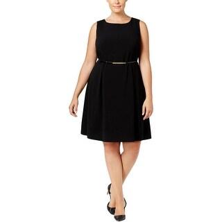 Nine West Womens Plus Wear to Work Dress Pleated Sleeveless