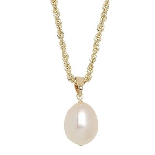 Honora Freshwater Pearl Solitaire Pendant in 10K Gold