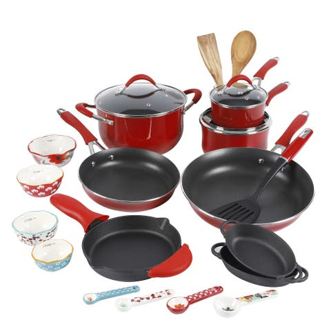 The 24-Piece Cookware Combo Set, Red - 21.85 x 13.19 x 12.80 Inches