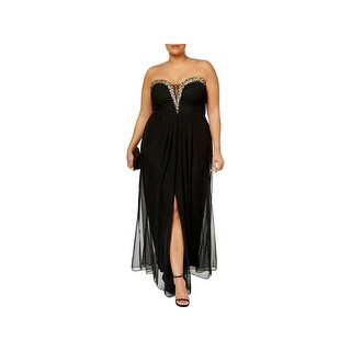 B&A by Betsy and Adam Womens Plus Evening Dress Jeweled Pleated
