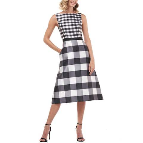 Kay Unger Pauline Printed Gingham Mikado Midi Dress