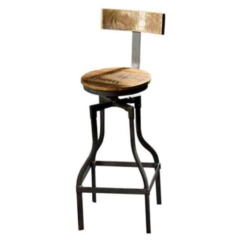 "Mercana Bombay 43"" Total Height Brown Wood Seat Black Metal Frame Stool"