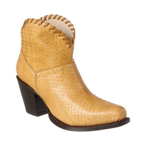 Alice + Olivia Kaira Python-Embossed Leather Bootie
