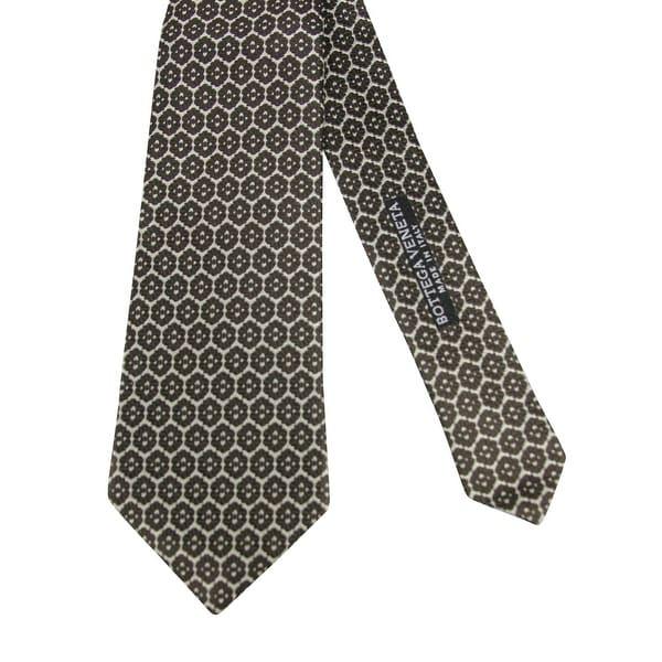 Bottega Veneta Beige,Dark Brown Flower Print Silk Woven Tie 376675 1973
