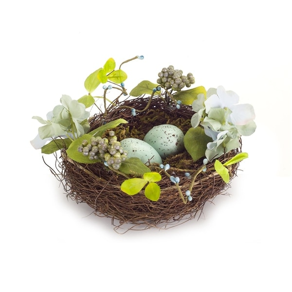 "Set of 6 Eggs in Nest with Flowers 10.75"" - N/A"