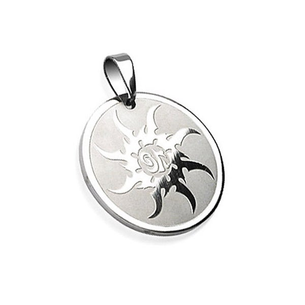 Stainless Steel Sunburst Engraved Round Pendant (30 mm Width)