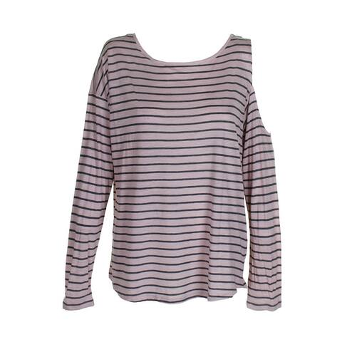 Vince Camuto Dusty Blush Cold-Shoulder Long-Sleeve Striped T-Shirt L