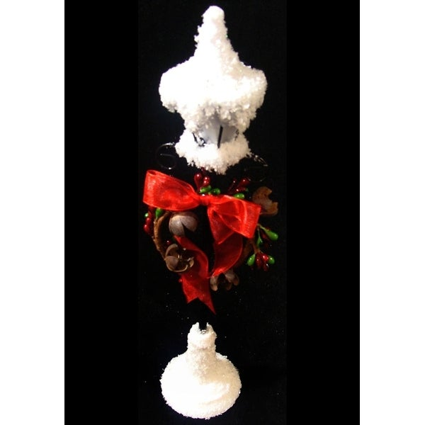"12"" Snowfall Valley LED Lighted Lamppost with Red Bow Christmas Decoration - black"