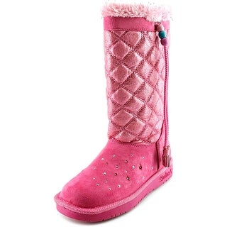 Twinkle Toes By Skechers Pretty Preppy Youth  Round Toe Suede Pink Winter Boot