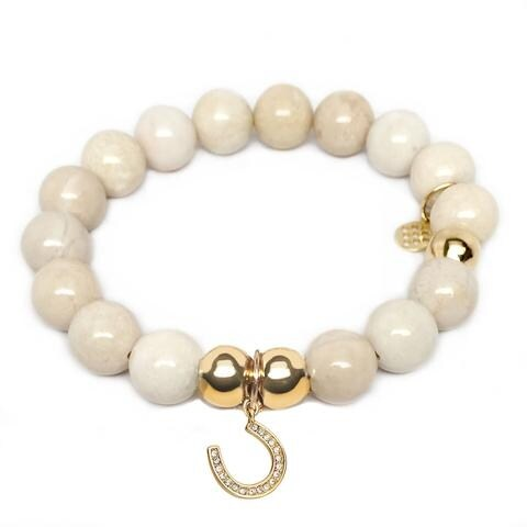Julieta Jewelry Horseshoe Charm Ivory Jade Bracelet