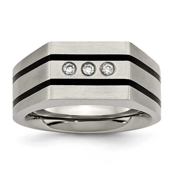 Chisel Titanium Brushed Black IP-plated CZs Ring