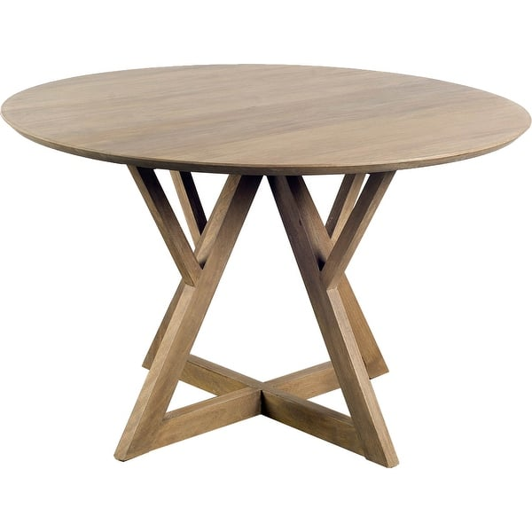 Mercana Jennings Ii 48 Round Brown Solid Wood Table Top Base Dining Table 48 0l X 48 0w X 29 9h Overstock 24239143