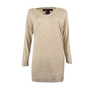 August Silk Women's Metallic V-neck Tunic Sweater