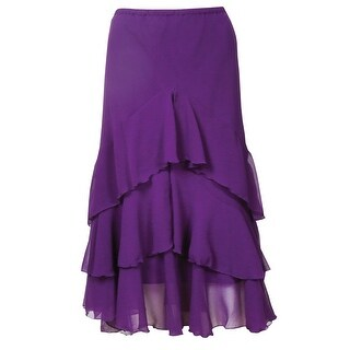 Catalog Classics Women's Ruffled Purple Skirt - Asymmetrical Tiered Broom Style