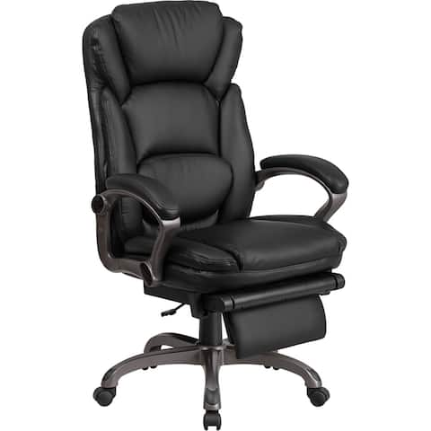Silkeborg High-Back Black Leather Executive Reclining Swivel Chair w/Arms