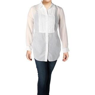 Lauren Ralph Lauren Womens Plus Blouse Pintuck Button Front