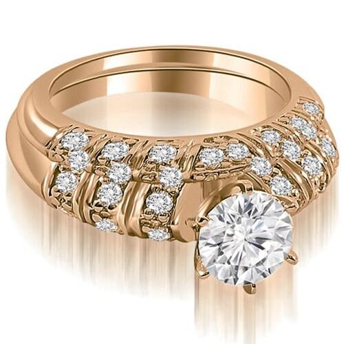 1.35 cttw. 14K Rose Gold Antique Round Cut Diamond Bridal Set