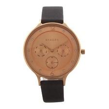 Skagen Skw2392 Chronograph Anita Gray Leather Strap Watch Watch For Women