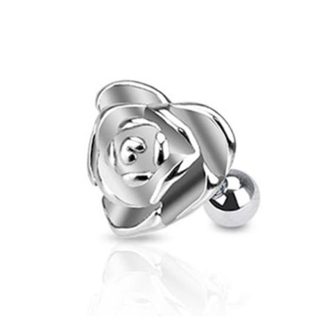 """Surgical Steel Heart Rose Cartilage and Tragus Barbell - 16GA 1/4"""" Long (Sold Ind.)"""
