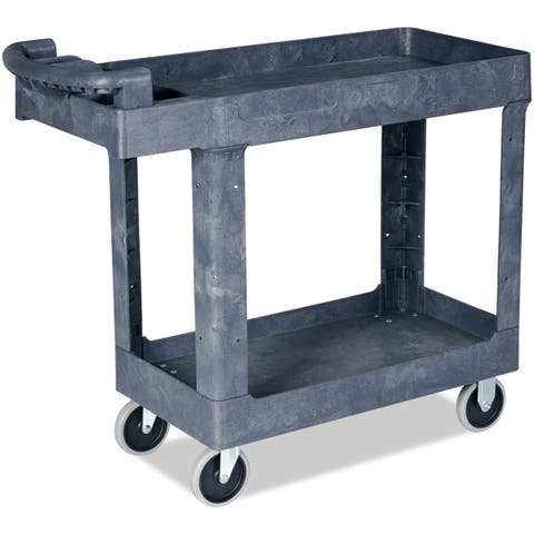 Costway Plastic Utility Service Cart 550 LBS Capacity 2 Shelves Rolling 41'' x 17'' x 34''