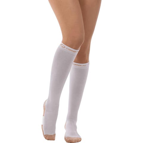 Copper Fit Energy Compression Knee High Socks, White Small/Medium 2-Pack