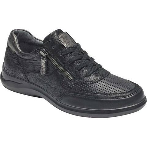Aravon Women's Power Comfort Tie Sneaker Black Leather