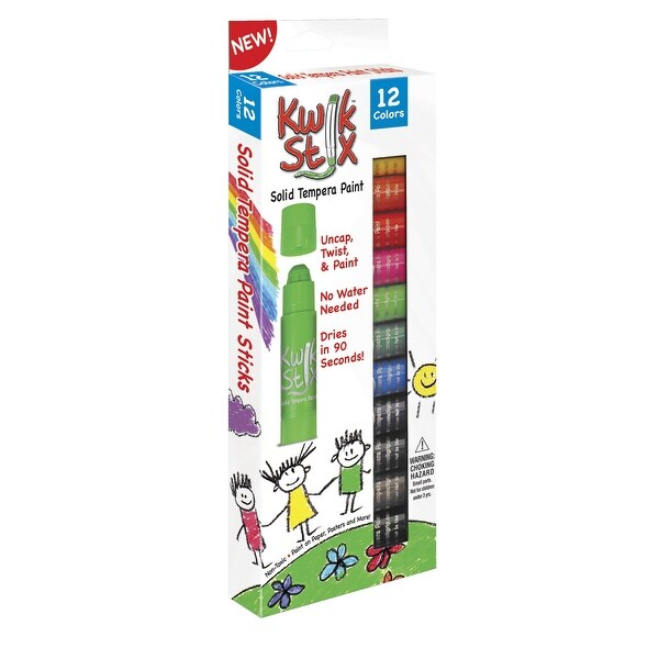 The Pencil Grip Kwik Stix Solid Tempera Paint, Assorted Colors, Set of 12