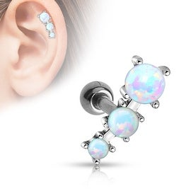 Triple Opal Ball 316L Surgical Steel Tragus/Cartilage Barbell (Sold Ind.)
