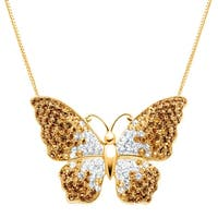 Crystaluxe Butterfly Pendant with Swarovski elements Crystals in 18K Gold-Plated Sterling Silver