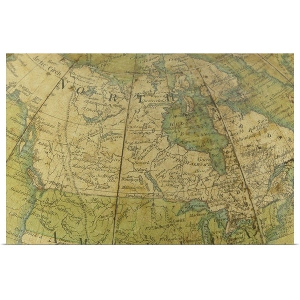 """""""Map of United States and Canada"""" Poster Print"""