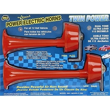 Wolo (200) Twin Power Red Plastic Trumpet Horns - 12 Volt, L