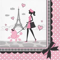 """Club Pack of 216 Black and Pink Party In Paris Luncheon Napkins 6.5"""""""