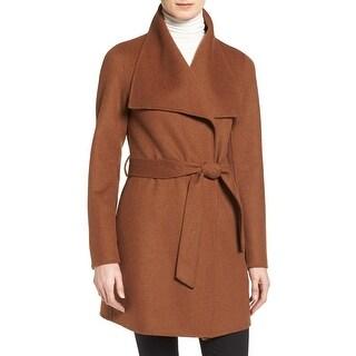 T Tahari Ella Brown Wrap Coat