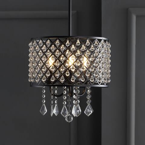 "Gigi 13"" Metal/Crystal Adjustable LED Drop Pendant, Black/Clear by JONATHAN Y"