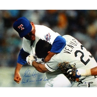 Nolan Ryan Signed Rangers Fight 16x20 Dont Mess With Texas Photo BAS+Ryan Holo