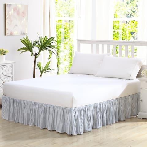 Laura Ashley LA Classics Ticking Stripe Blue Ruffled Bedskirt