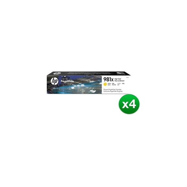 HP 981X High Yield Yellow Original PageWide Cartridge (L0R11A)(4-Pack)