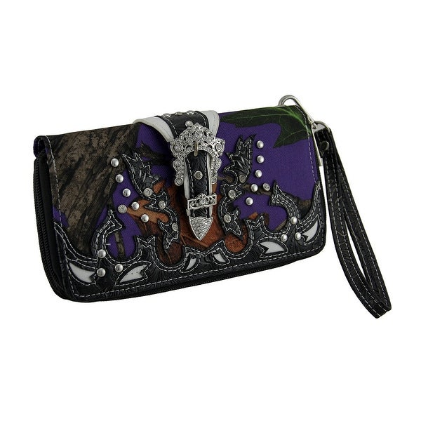 Purple Forest Camo Rhinestone Buckle Canvas Wallet w/Removable Strap