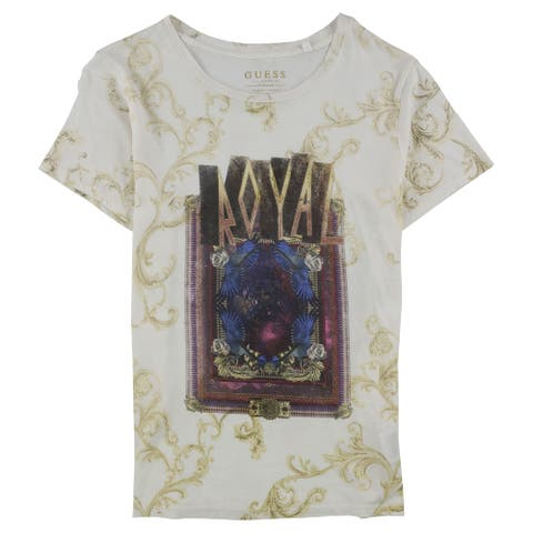 GUESS Womens Royal Graphic T-Shirt, white, Medium