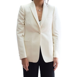 Valentino Women's Off White One Button-Up Blazer - 4