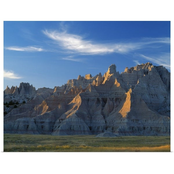 """Badlands landscape with pinnacles , Cedar Pass, Badlands National Park, South Dakota"" Poster Print"